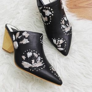 Dolce Vita Asia Black Leather Studded Mules